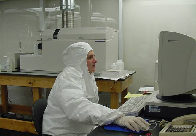 Protective  clothing inside clean room environment