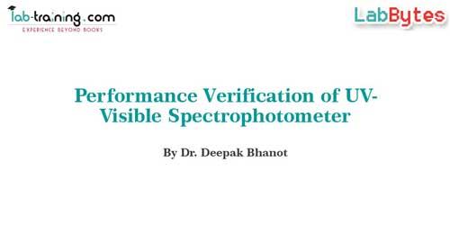 Performance Verification of UV - Visible Spectrophotometer