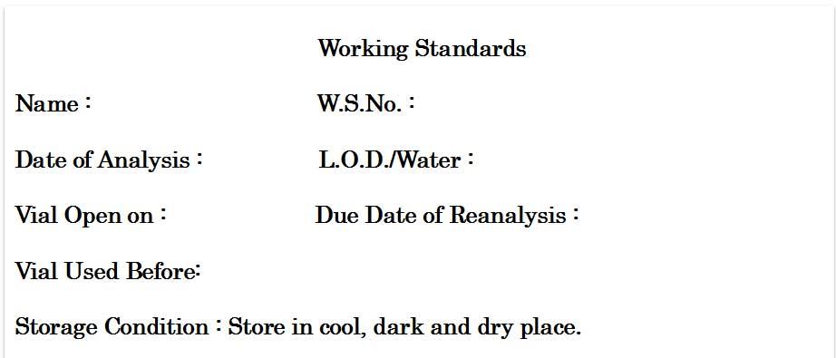 working-standard-label