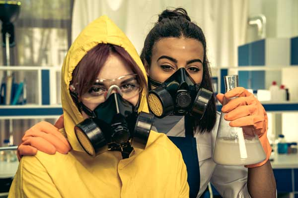 Research scientists working with Laboratory respirators