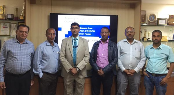 (Left to Right) Dr. Deepak Bhanot, Mr. Seyoum Wolde Kere, Mr. Manish Ranjan, Mr. Bikila Bayissa Feye, Mr. Awot Gebreegziabher Gebrehiwot and Mr. Kemal Hussien Seid