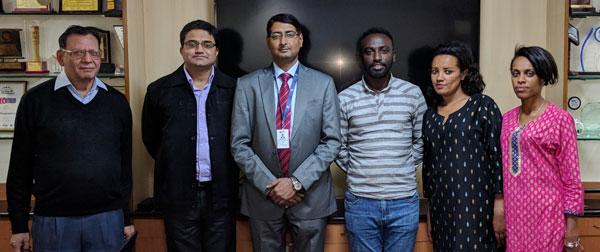 (Left to right) Dr. Deepak Bhanot, Mr. Manoj Sharma, Mr .Manish Ranjan, Mr. Gashaw,Ms. Bekelu, Ms. Helina