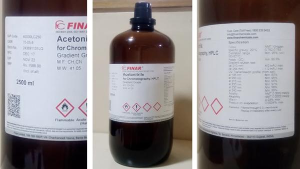 label details on HPLC grade solvent bottle