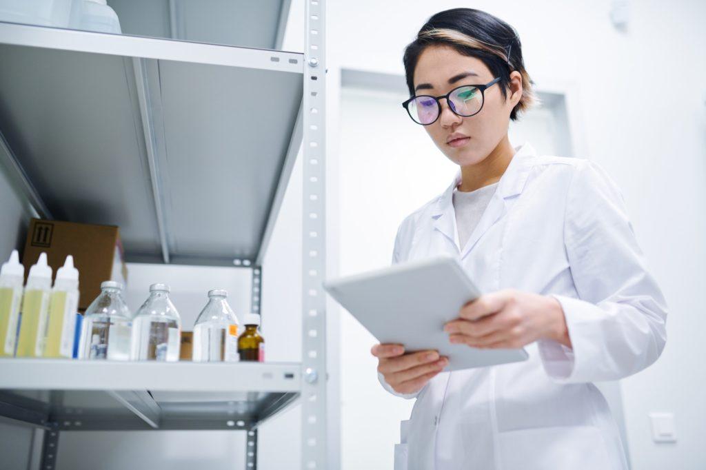 Lady working in medical storage room